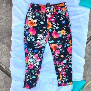 Merona navy floral work pants